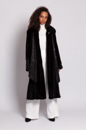 Шуба норковая чёрного цвета со съемным шарфом (115 см) PT quality Furs