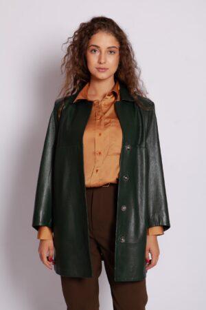 Кожаный зелёный удлиненный пиджак Me-Fi