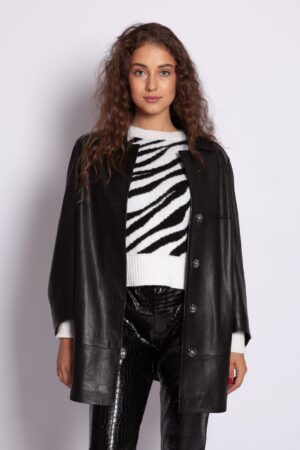 Кожаный чёрный удлинённый пиджак Me-Fi