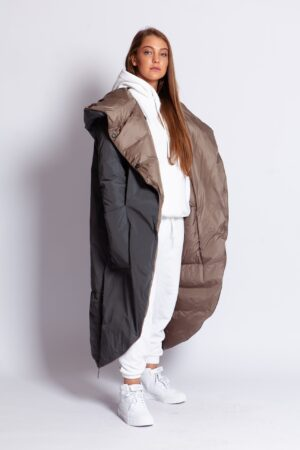 Двухсторонний пуховик одеяло (оливковый/беж; наполнитель пух 90% перо 10%)