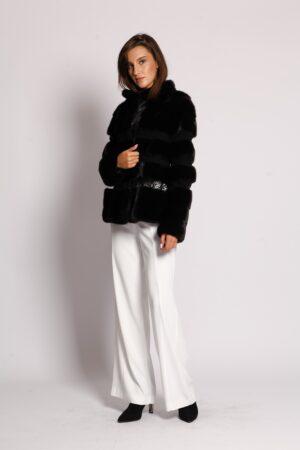 Полушубок норка со вставками гипюра (55 см) Gianfranco Ferre Furs